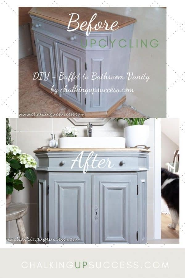 Buffet upcycled to a bathroom vanity and painted with Annie Sloan Chalk Paint in Paris Grey