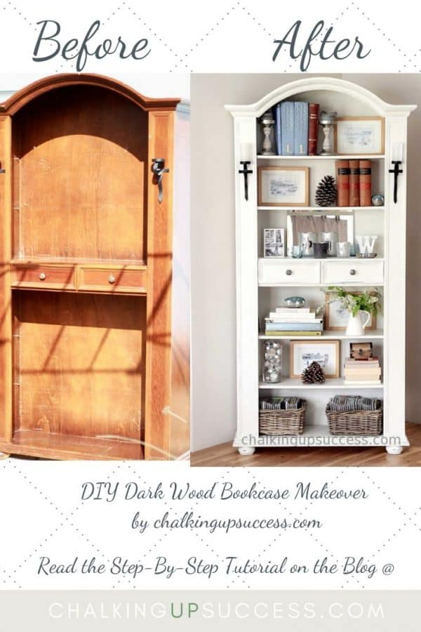 Dark wood bookcase upcycle with Annie Sloan Chalk Paint in 'Old White'