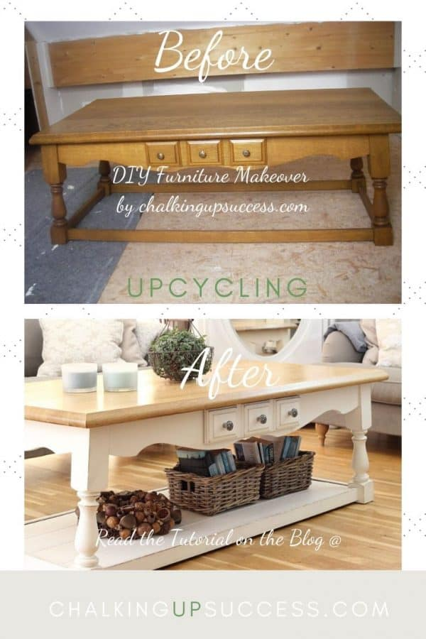 Before and after of a dark wood coffee table makeover. Painted with Annie Sloan Chalk Paint in old white. The top of the table was sanded and white liming wax added to show up the grain.