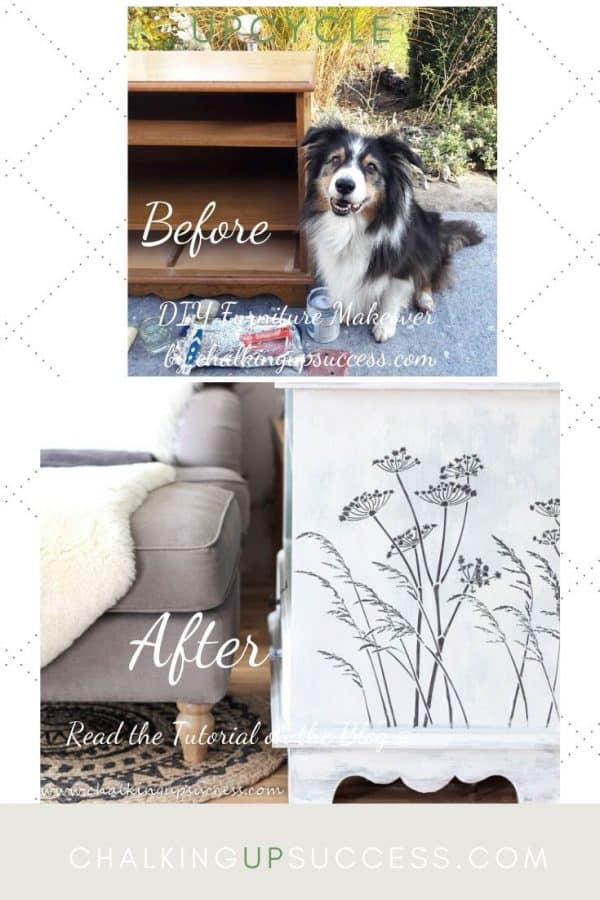 Before and after upcycle of a dark wood media stand makeover. Painted with Annie Sloan Chalk Paint in old white and Paris grey. Seedhead and grasses stencil was used on the side painted with rustoleum chalk paint in a shade of dark grey.