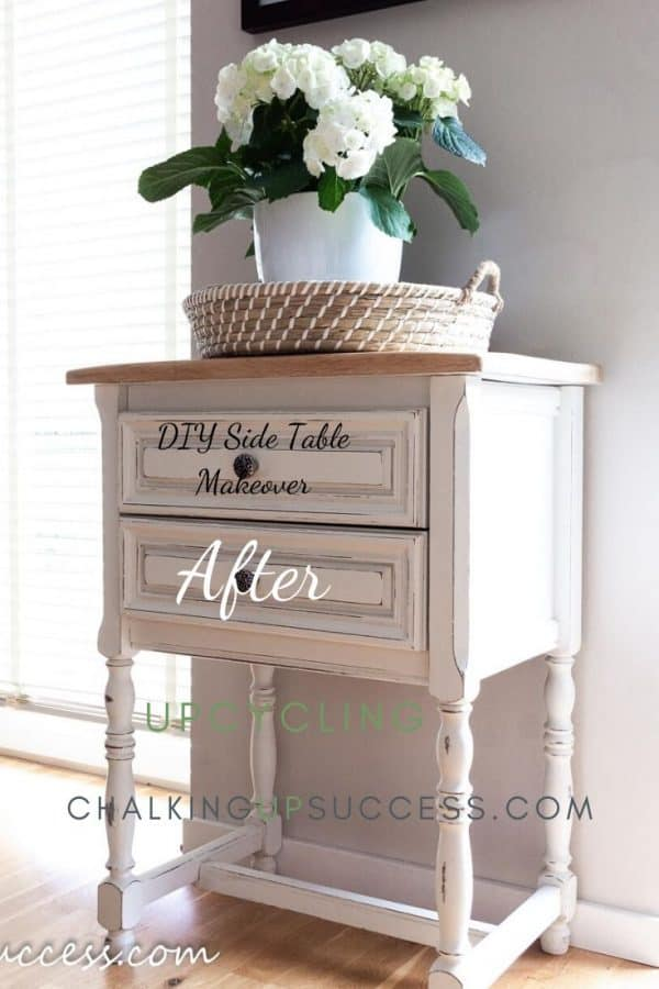 Small side table with drawers upcycled  with Annie Sloan Chalk Paint in 'Old White'. The top is left unpainted wood.