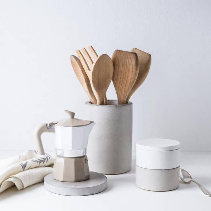 concrete utensil holder and coffee pot