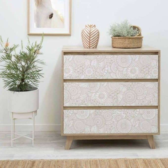 Update old furniture with this bohemian removeable wallpaper in beige tones and modern circular flower design.