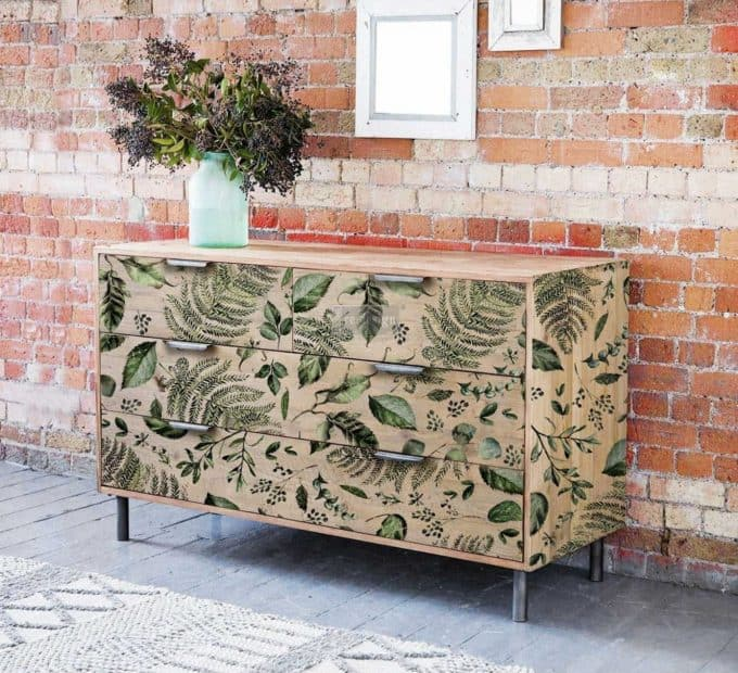 ReDesign furniture transfers in ferns and leaves design. A gorgeous way to update old furniture like this wide six drawer wooden dresser.