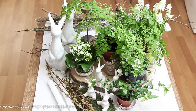 All the items you need for making this elegan Easter Centrepiece. White Easter bunnies, spring flowering plants and greens and cuttings from the garden.
