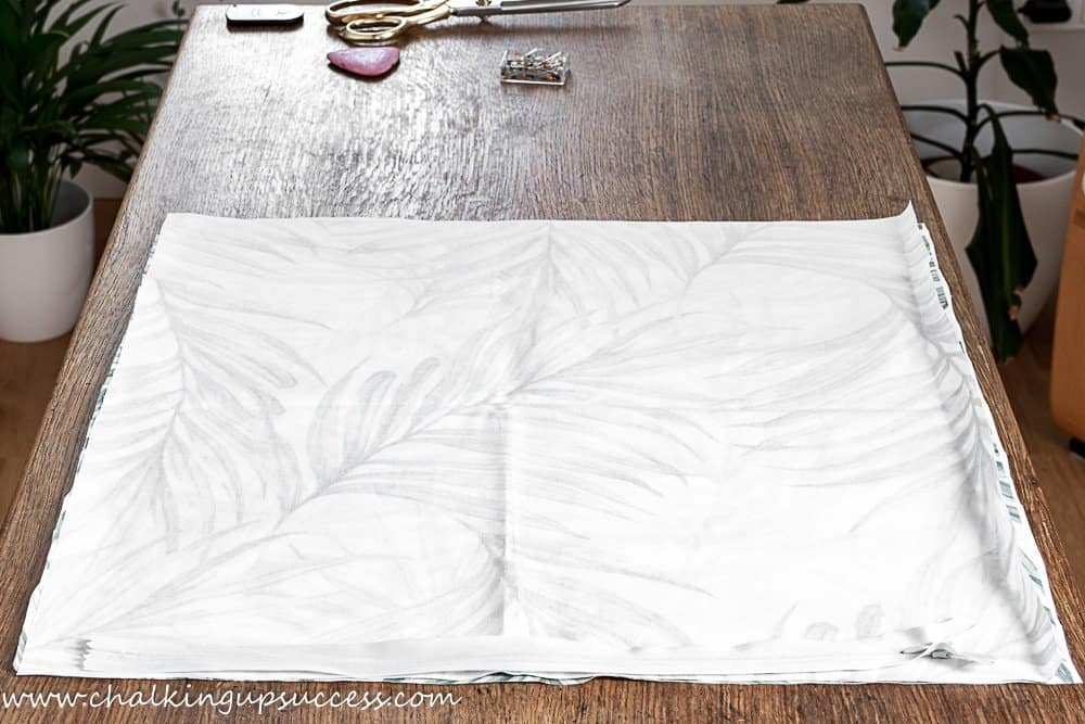 fabric cut to the size of the pillow insert