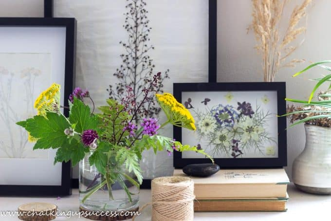A set of three beautiful pressed flower prints made with garden flowers.