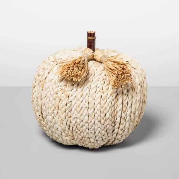 Pumkin made of plaited strands of water hyacinth - Autumn home decor finds