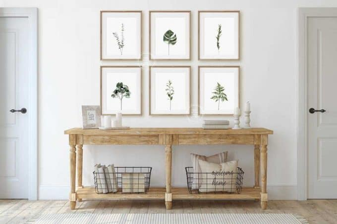 Set of six botanical poster prints with leaves and ferns - affordable botanical art
