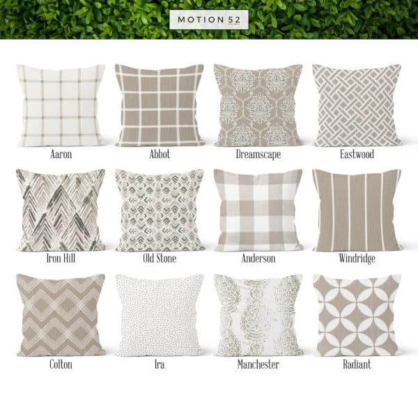 12 beige and white patterned pillows which complement each other - Autumn home decor finds