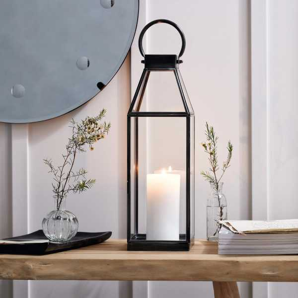 Black metal lantern with white church candle - Autumn home decor finds