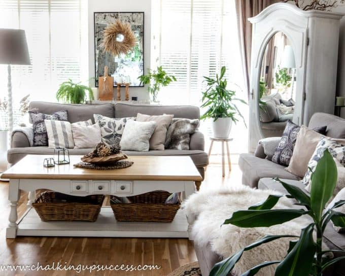 Lounge decorated for the autumn home tour. Wood and whites, brown sofa and farmhouse style pillows.