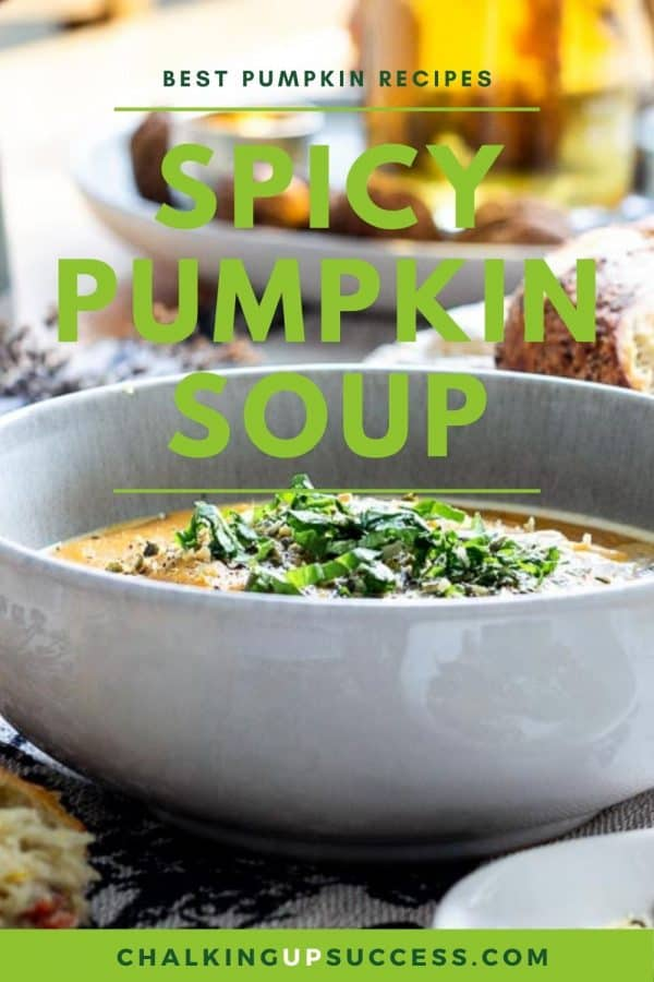 Pinterest image for spicy pumpkin soup recipe