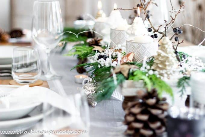 Christmas table setting/tablescape using a wood pedestal tray
