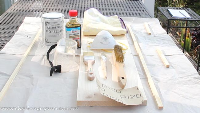 Showing supplies needed for making a wood pedestal tray