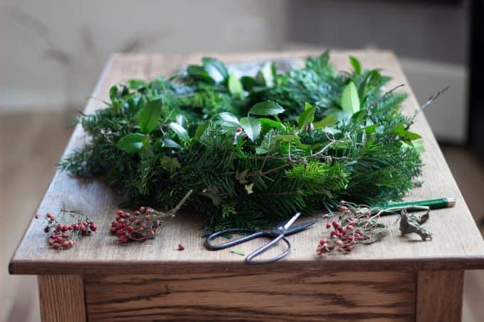 Finished fresh evergreen wreaths