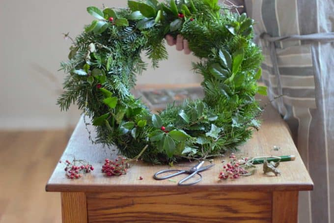 A fresh evergreen wreath