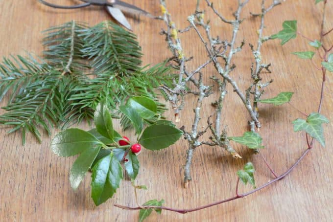 Clippings of holly, fir, ivy and a few sticks