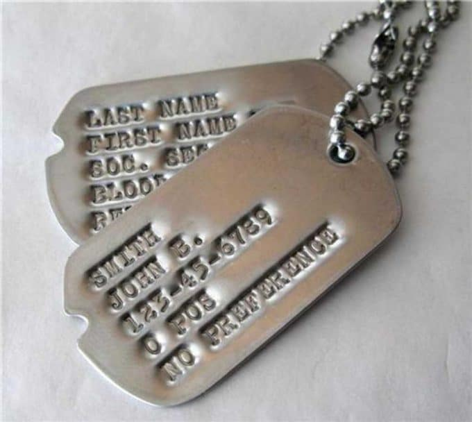 Personalised dog tags/army tags
