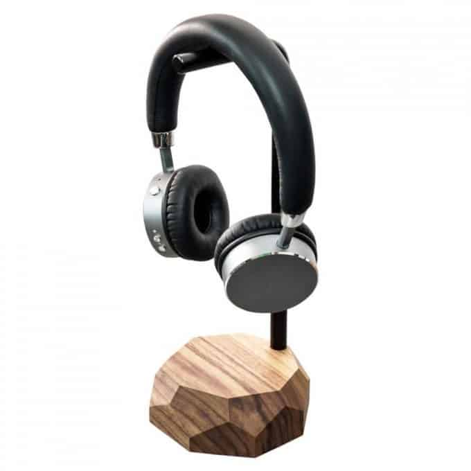 Wood and metal headphone stand