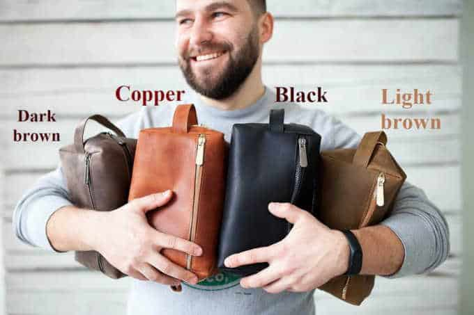 Mens leather toiletry bag in assorted colours