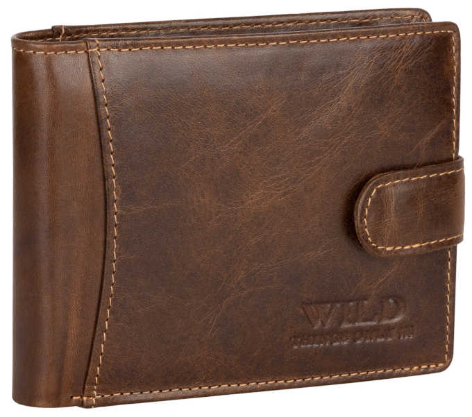 A brown leather RFID men's wallet