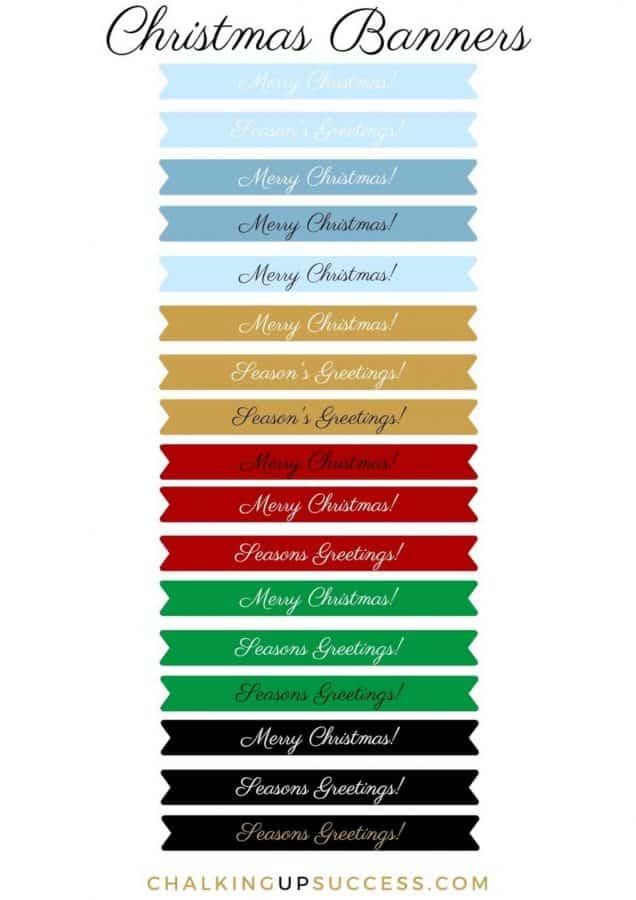 'Merry Christmas' printable banners