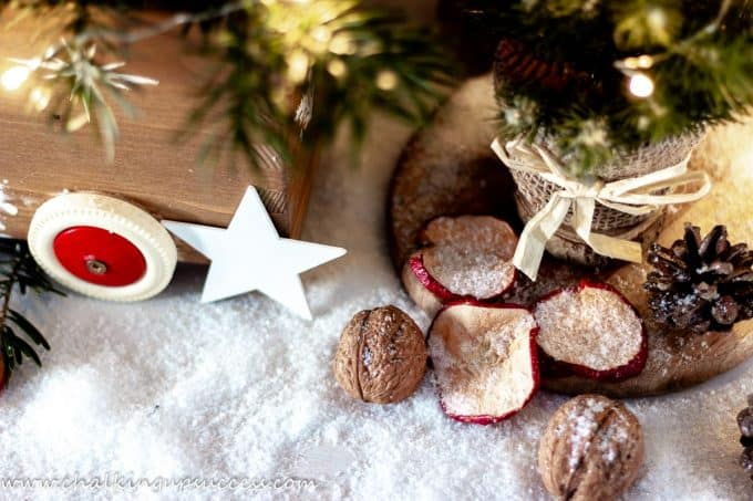 Decoration around the Christmas box wth dried apple slices, walnuts, pine cones and a mini Christmas tree.