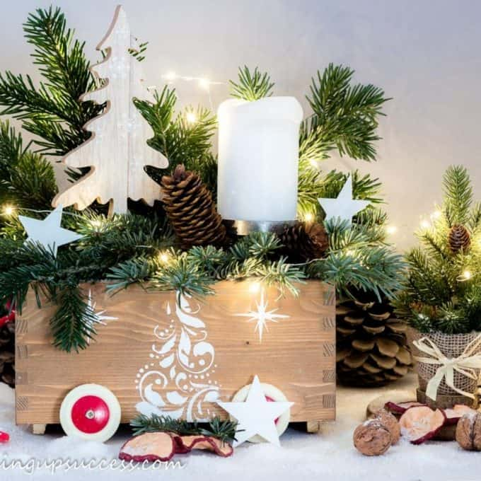 Wooden crate decorated for Christmas