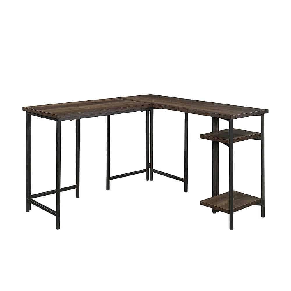 Dark wood corner desk