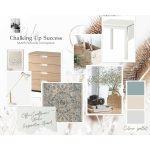 A collage of photos showing a collage of furniture and accessories in the colours blue-grey and natural beige for a multifunctional room makeover.