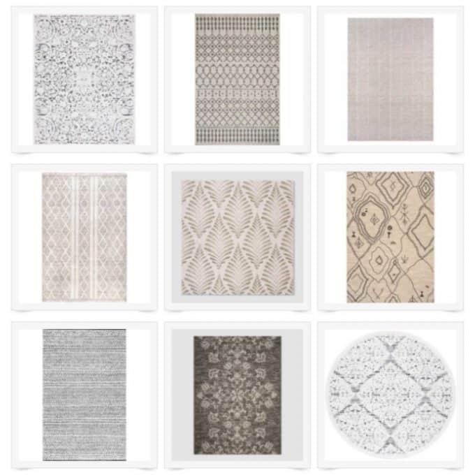 A selection of indoor-outdoor rugs in grey and beige tones.