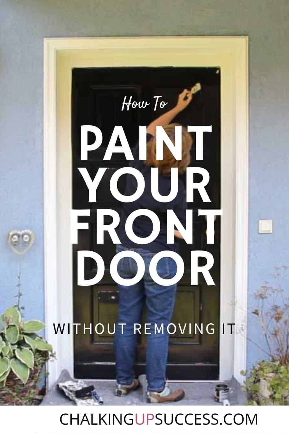 Pin to Pinterest - A person showing how to paint your front door black
