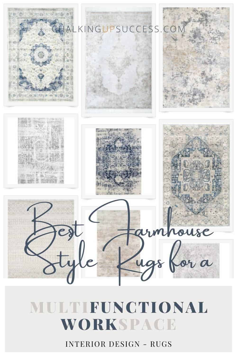 Various blue-grey farmhouse style, vintage area rugs for a workspace