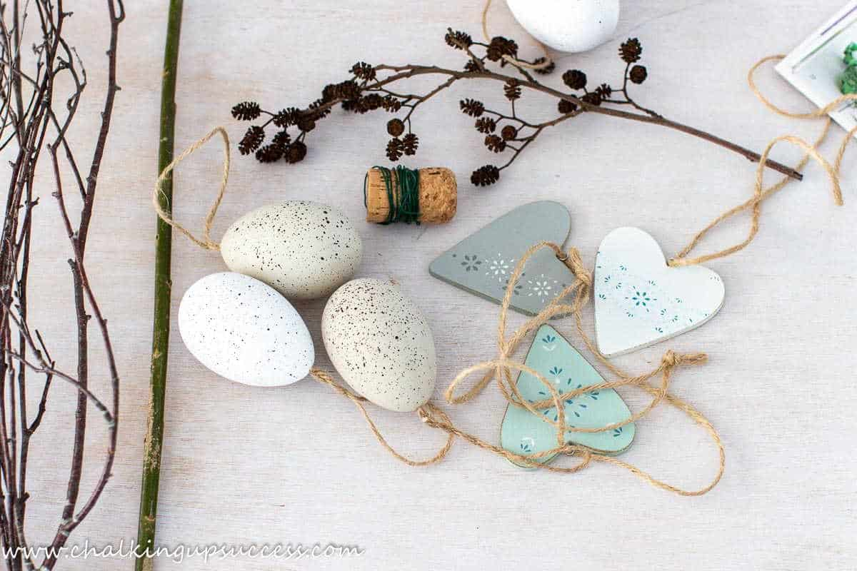 Simple decorating ideas for spring - twigs, hearts, floral wire and Easter eggs