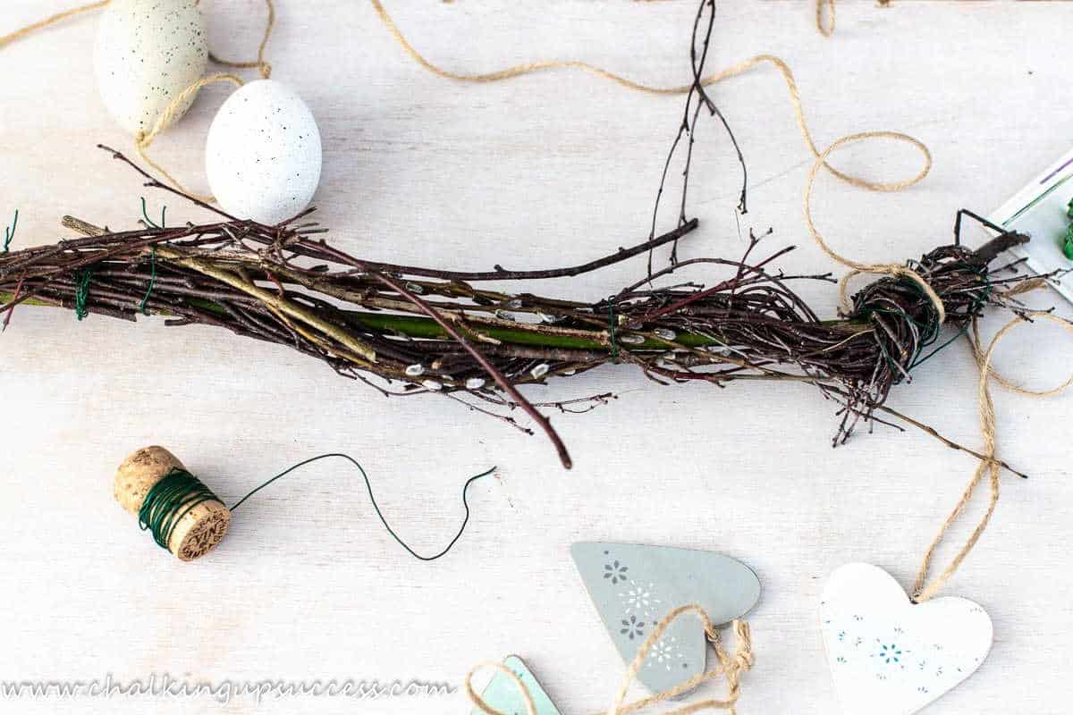Simple decorating ideas for spring - twigs, hearts and Easter eggs