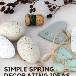 simple spring decorating ideas with Easter eggs and wooden hearts
