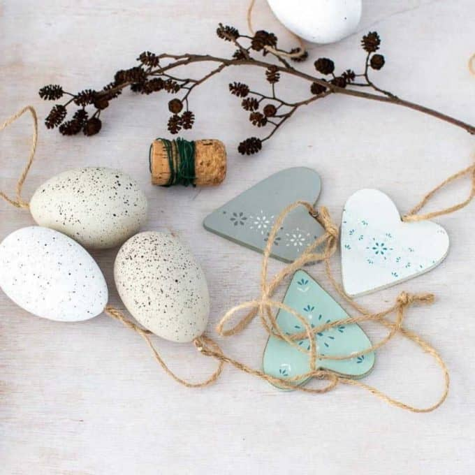 Easter eggs and wooden hearts