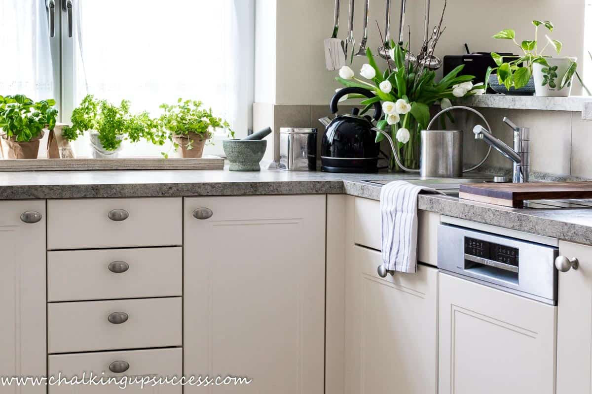 A corner of the white kitchen showing a row of fresh green herbs on the counter, a black kettle, plants and an indoor plant watering can.
