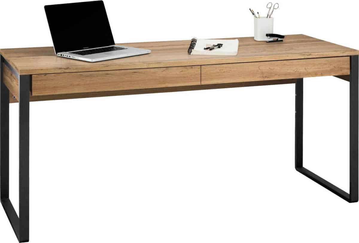 An industrial style bedroom desk with two 'invisible' drawers and black metal legs.