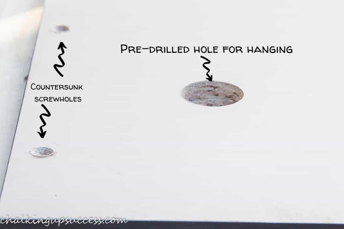 Shows how the screw holes look after being countersunk with a drill.