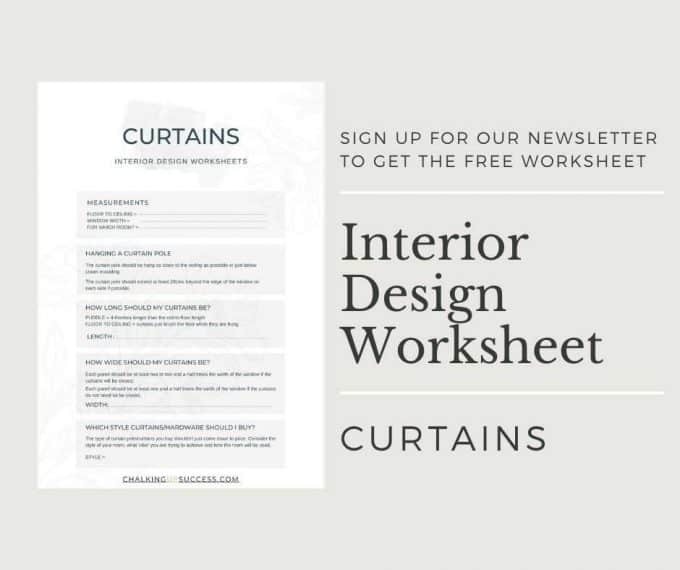 Sign up for our newsletter to get the free design worksheet - hang curtains properly