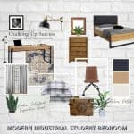 Modern industrial student bedroom mood board from Chalking Up Success.
