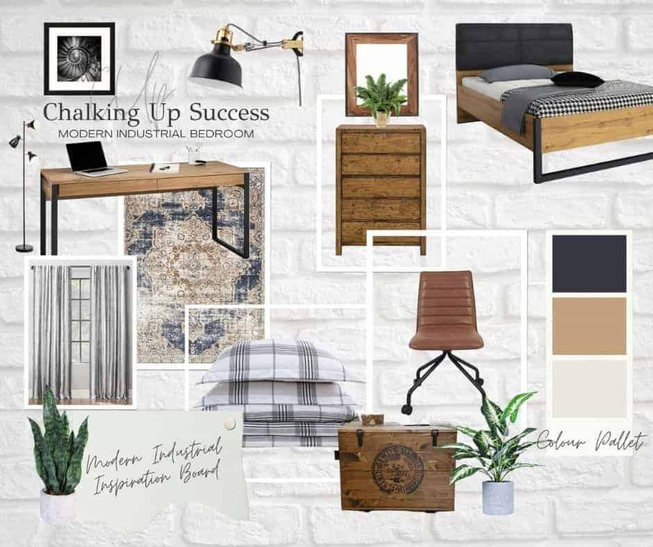 Share this image to Facebook - Industrial style bedroom mood board from Chalking Up Success