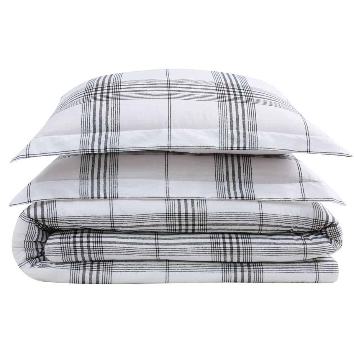 Black and white check bedding for the industrial style bedroom.