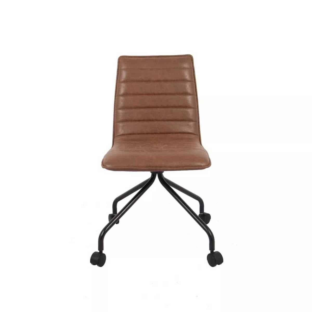A brown leather-look swivel desk chair with black metal legs.