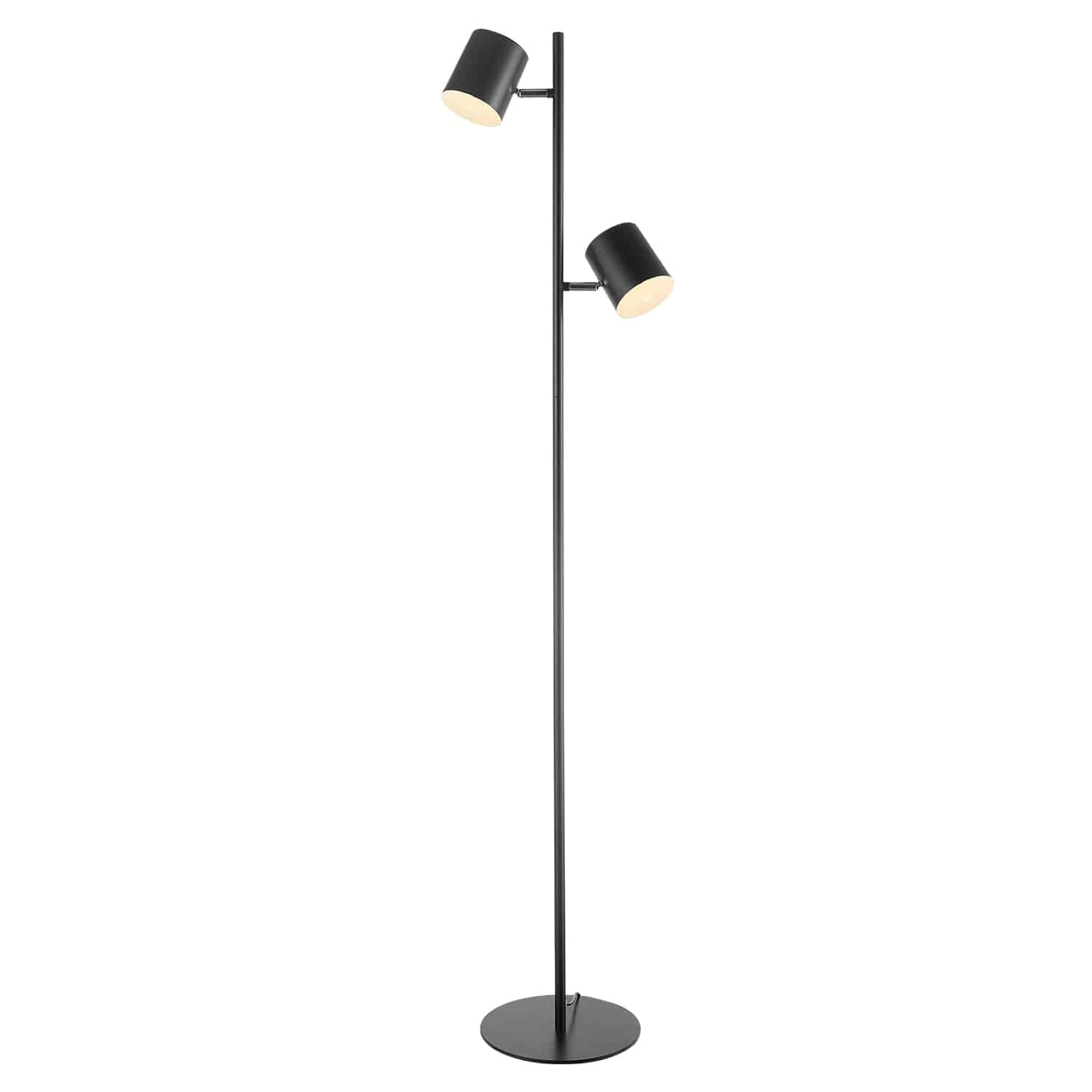 A black metal floor lamp with two swivel lights.
