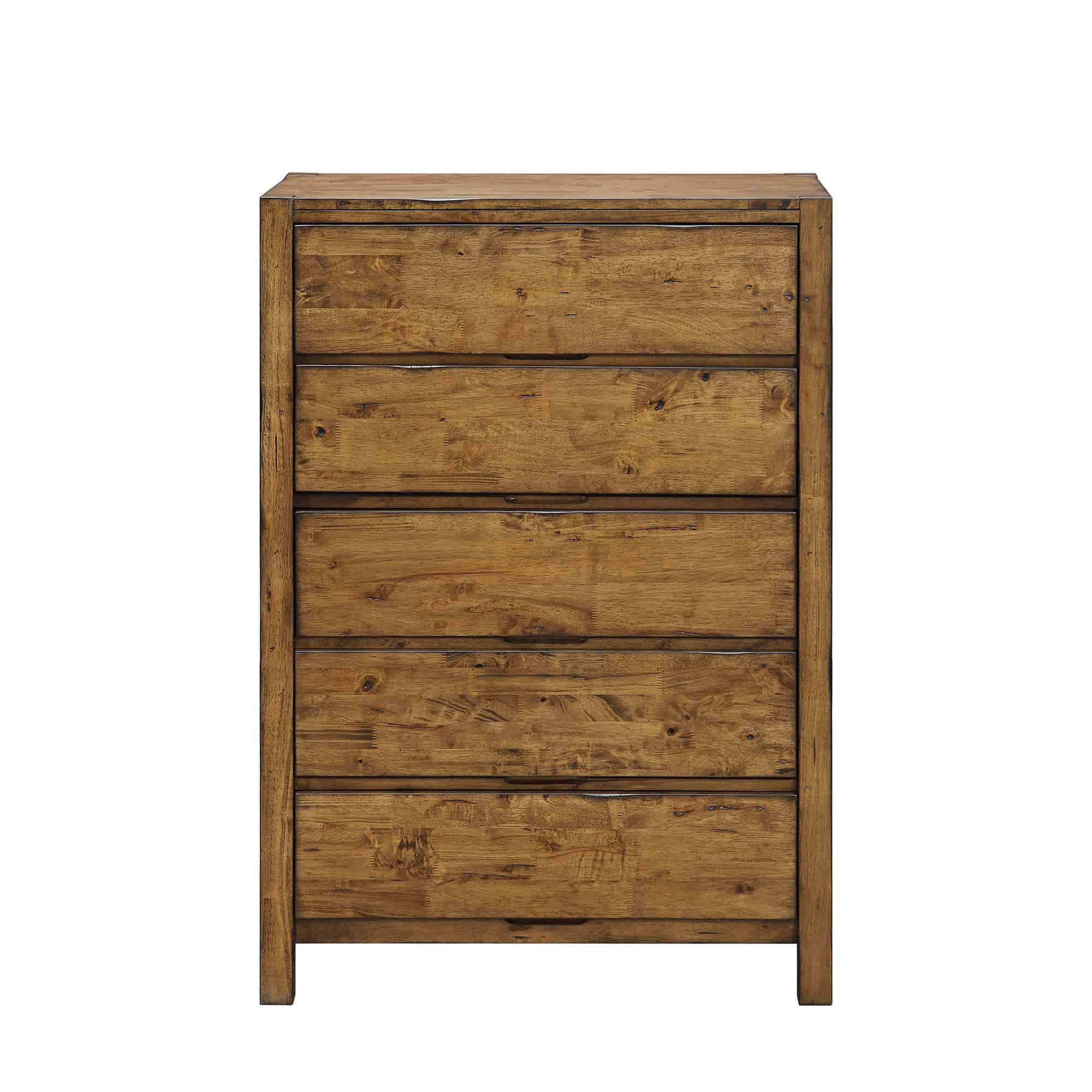 A wooden chest of drawers without drawer pulls for the industrial style bedroom.