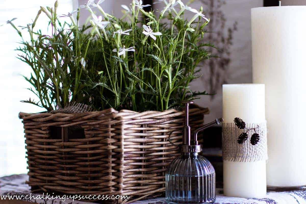 A small wood and white side table has been decorated for the summer home tour. A small wicker box is filled with white flowering plants.