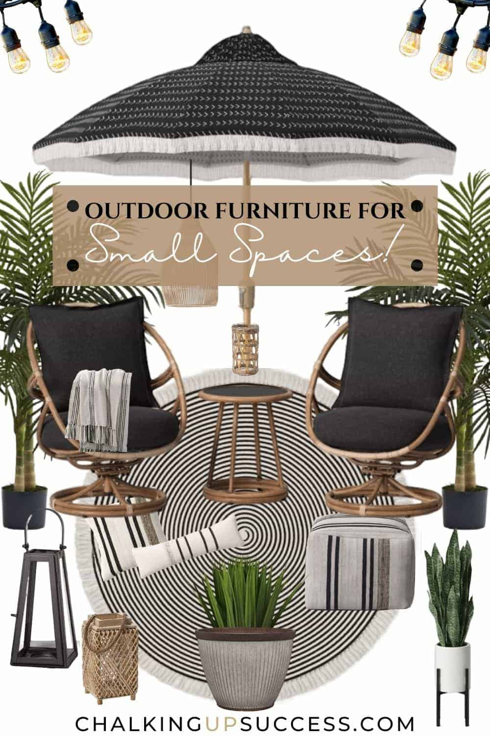 This outdoor furniture for small spaces includes a set of two rocking chairs and a side table. The round black and off white rug with concentric circles complements the boho style.